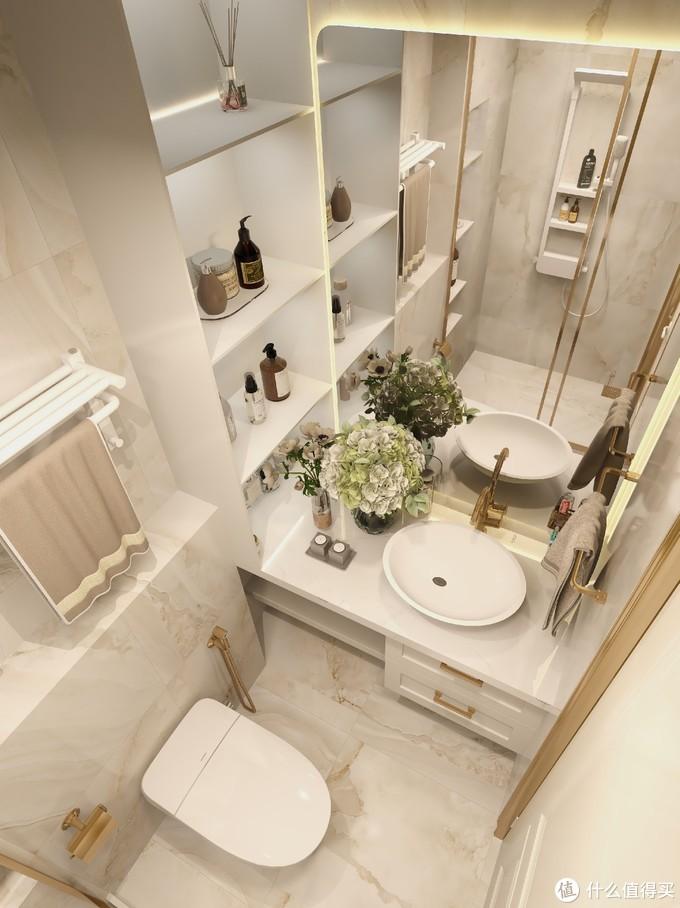 清新简欧浴室✨明亮大方,智能马桶是真香