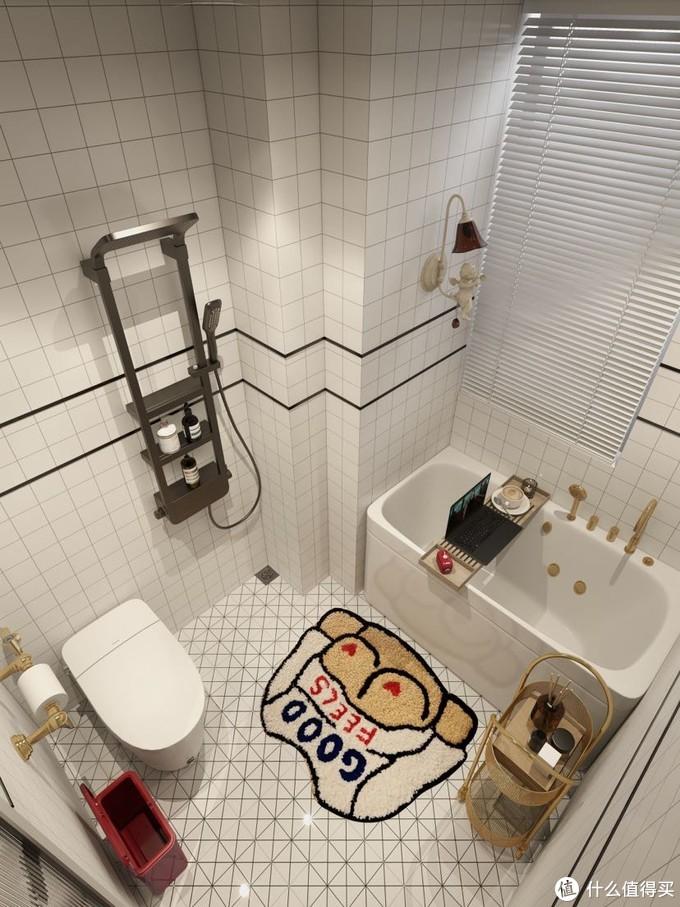 复古马赛克浴室 有泡澡+智能马桶的幸福感