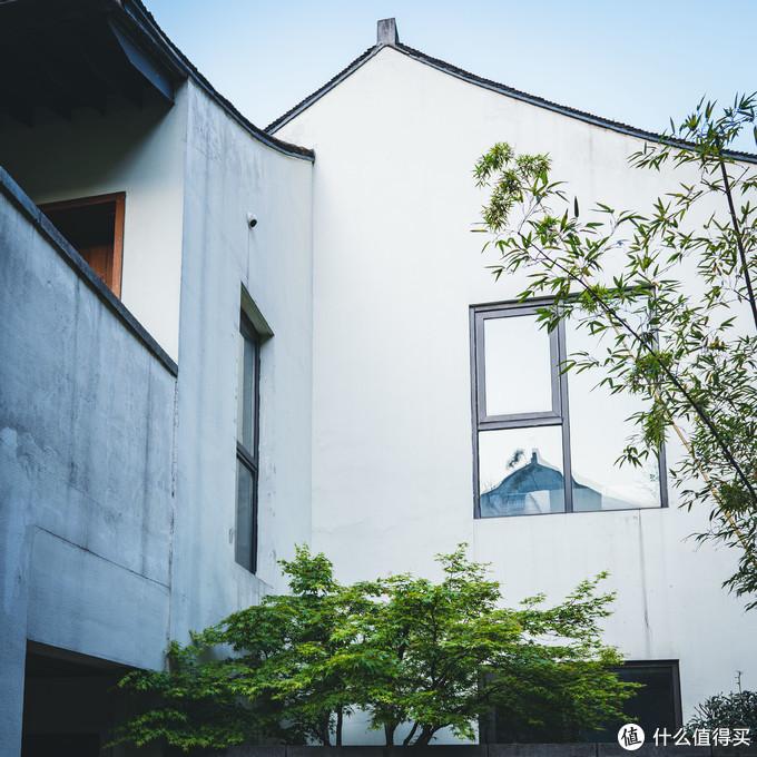 灰砖白墙绿植与玻璃的完美共生