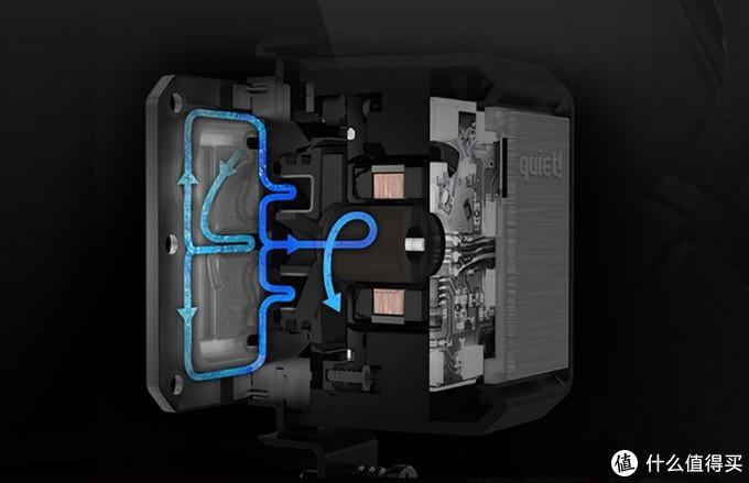 冷头内采用的三腔水泵设计,可替内部水流提供充足且有序的分流空间,确保水冷稳定运行,水泵外也有减震垫吸收噪音