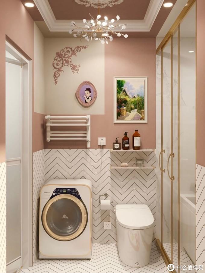 古典粉+无水箱智能马桶 精致女孩浴室