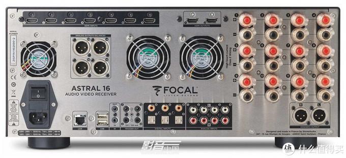 Focal Astral 16提供7入2出HDMI接口,并自带12路功放和4组前级输出(XLR接口),合共16通道输出