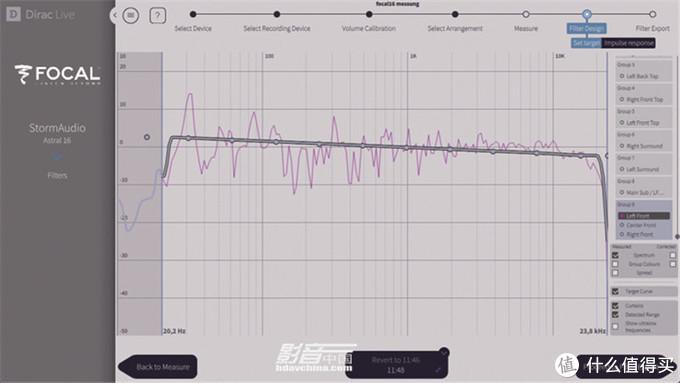 Dirac Live修正功能可以让工程人员对每一个声道设定目标频响优化曲线