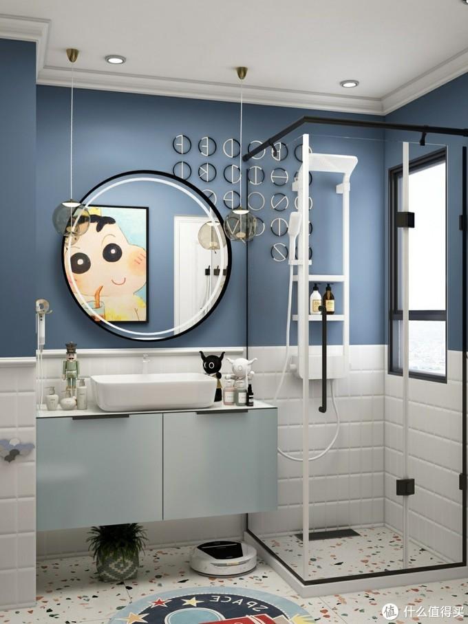 3平北欧蓝浴室🦋花洒换新,颜值高体验!