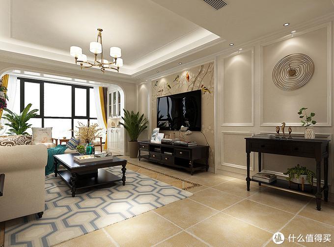 她家的轻奢美式风格,用简单实用的石膏线做造型,造价低又很美观