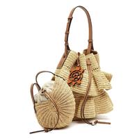 酒椰纤维和牛皮革褶裥Pochette手袋Natural/Orange-LOEWE