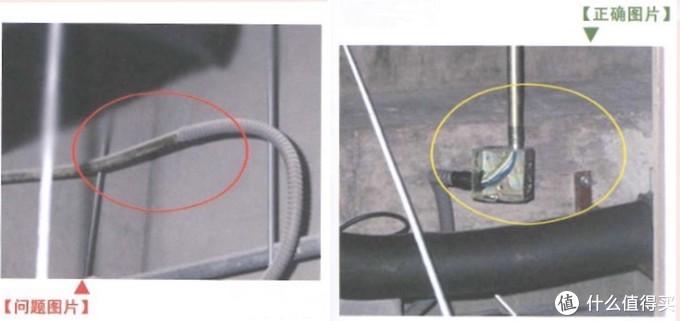 上图:软管与金属硬管连接时,软管直接插入硬管内,不符合规范