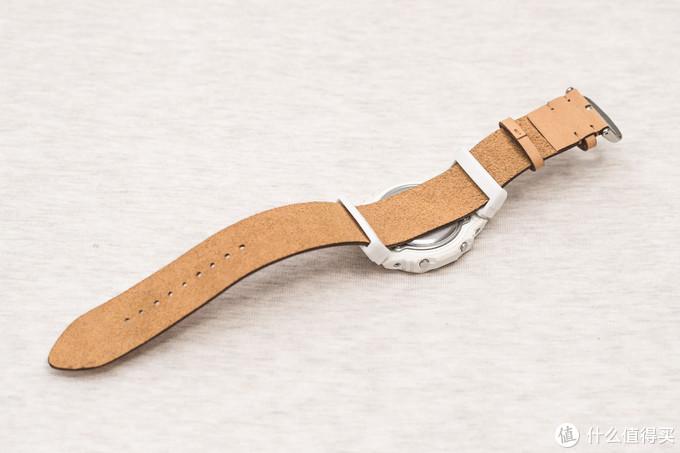 合体背面观,这种表带是nato带的简化,由于皮革较大的摩擦力,表体很难滑动