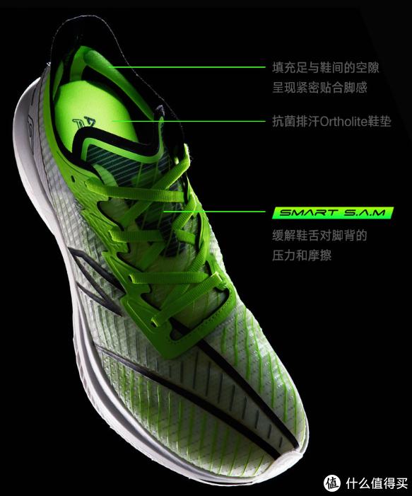 SpaceFiber鞋面,由tpu纱线构成,鞋面编织部分重量仅9.9g