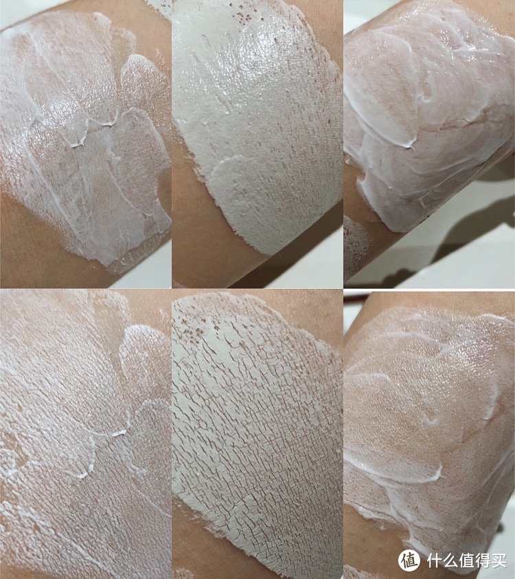 从左到右依次是:菲洛嘉十全大补面膜、清洁著名的面膜和高效保湿面膜;上面是刚涂抹上、下面是三十分钟后。