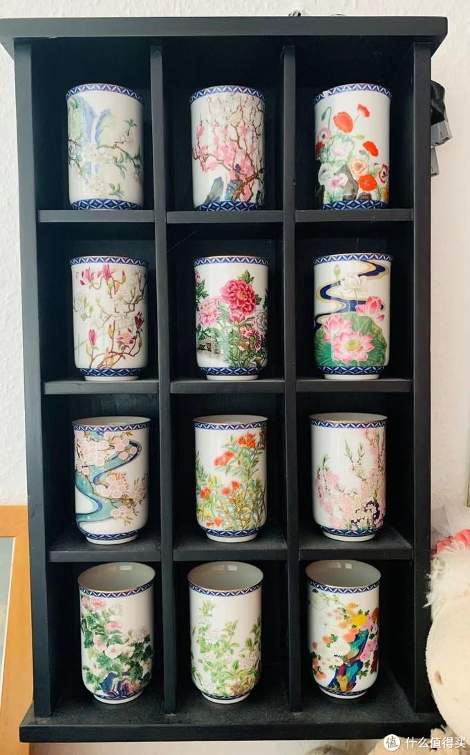 家庭旧货摊位上15欧买的装饰架+瓷杯,来自日本,卖家说是她婆婆收集的