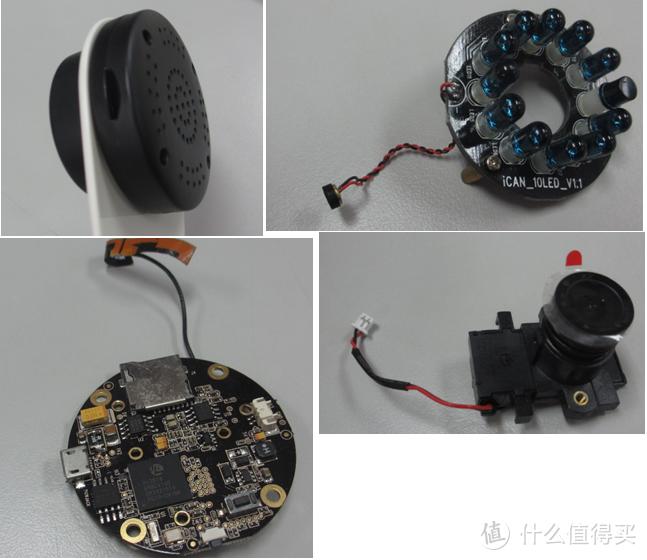 一个23mm直径的2pin小喇叭,一个带mic的灯珠,一块主板,一个调焦镜头