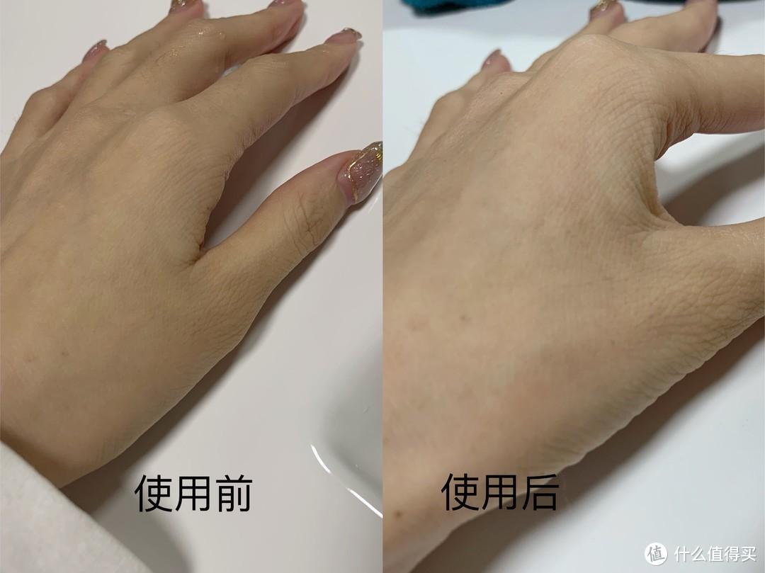 在手上敷上十全大补面膜15分钟后的效果,同一光线下皮肤明显白亮了许多,手部纹理有轻微淡化效果。