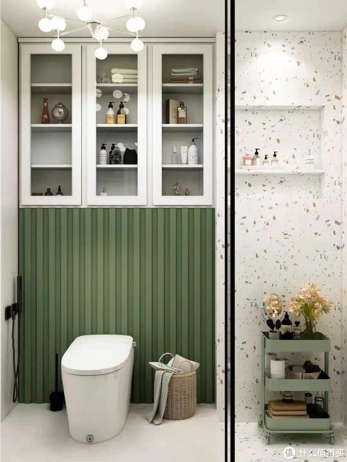 无窗4m²清新绿浴室🍃智能马桶怎么选❓