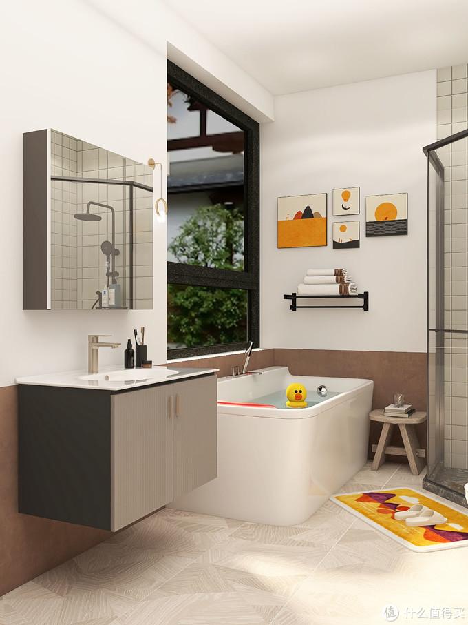 简约风浴室| 配上幸福感爆棚的智能马桶