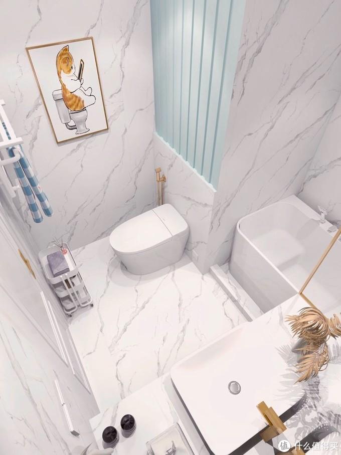 清爽蓝白配色浴室|智能马桶和泡澡带来的快乐