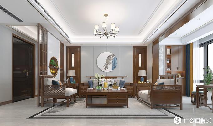 她家的中式装修太有品味了,客餐厅、主卧室空间用圆形画,太美了