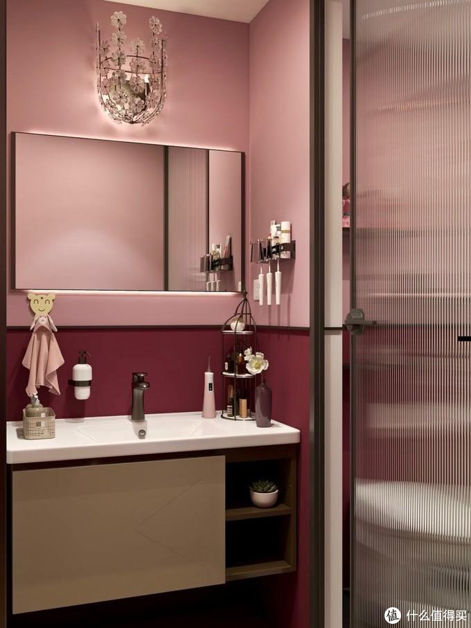 摩登红小户型卫生间,智能马桶提升幸福感!