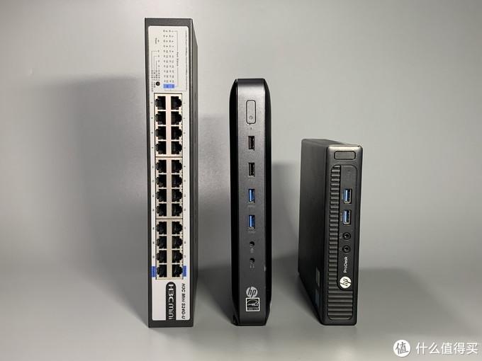 华三24口交换机,T620,HP600G1;三者体积对比。
