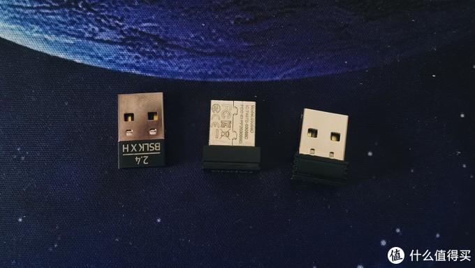 """这个是我用过的三个无线鼠标,和各自的接收器。对应的最左边就是""""小巴蛇""""右侧两个是之前使用的小鼠。饱满度供参考。"""