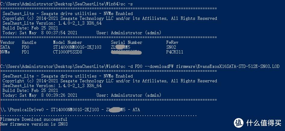 USB不支持固件操作,所以要拆盘接SATA或SAS才能继续操作,我将固件工具重命名成SC.exe了所以命令行稍微会不一样,PD0就是14T的硬盘,我先将固件升级到SN03,结束后没有啥让重启的提示也就没管