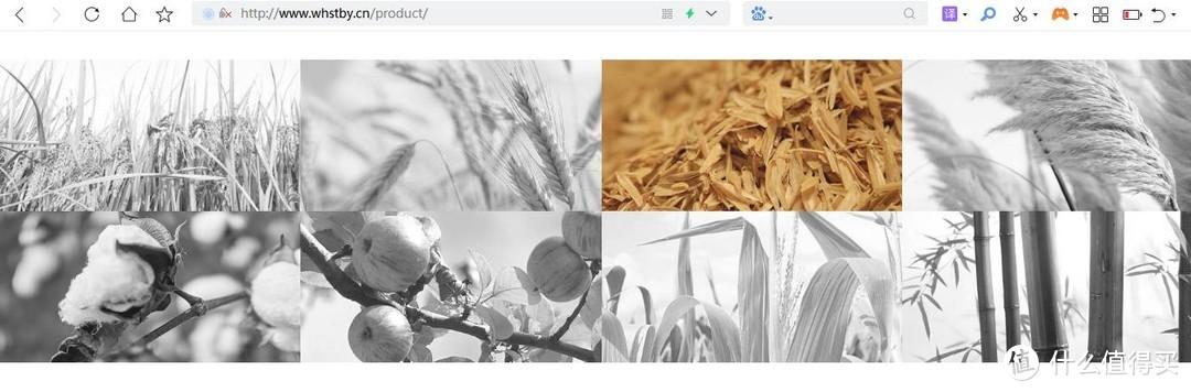 """万华官网的原料图依次是稻草、麦草、谷壳、芦苇、棉杆、苹果、玉米、竹子……看着还真挺""""生态""""的"""