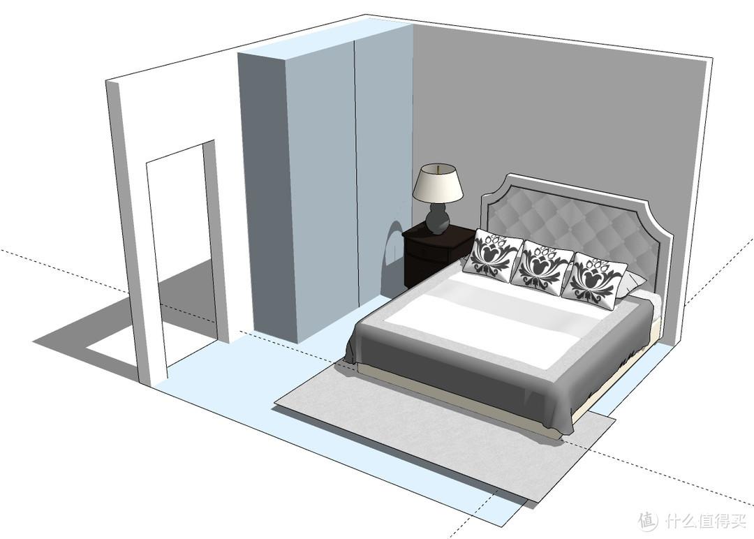 3.3*3.5m空间卧室,1.8*2m的床