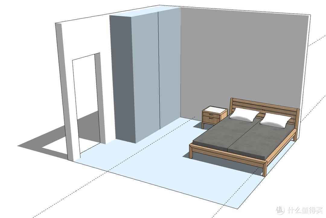 3.3*3.5m空间卧室,1.5*1.9m的床