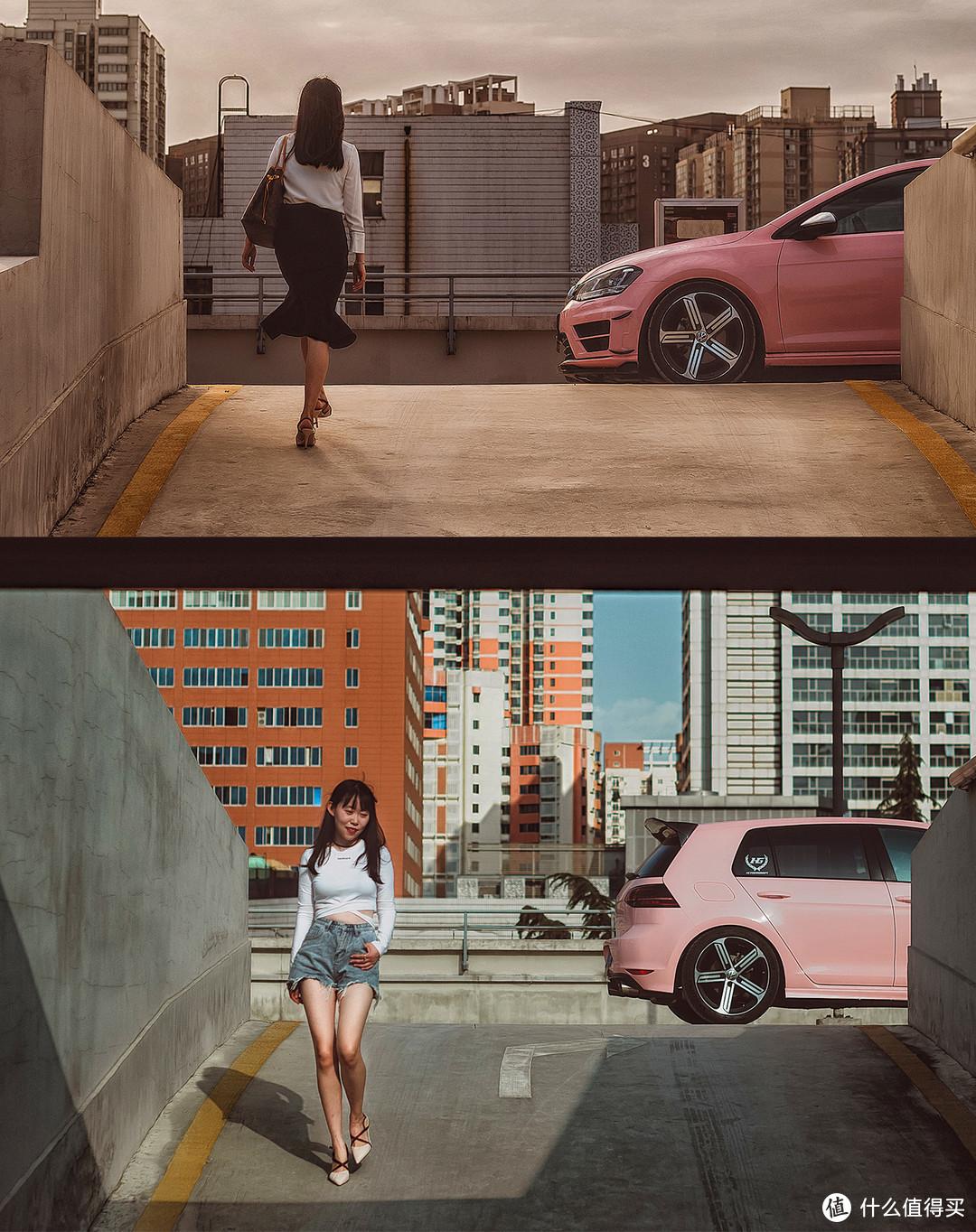 同一个位置,车头与车尾,上与下,端庄与性感,和爱车拍出故事感