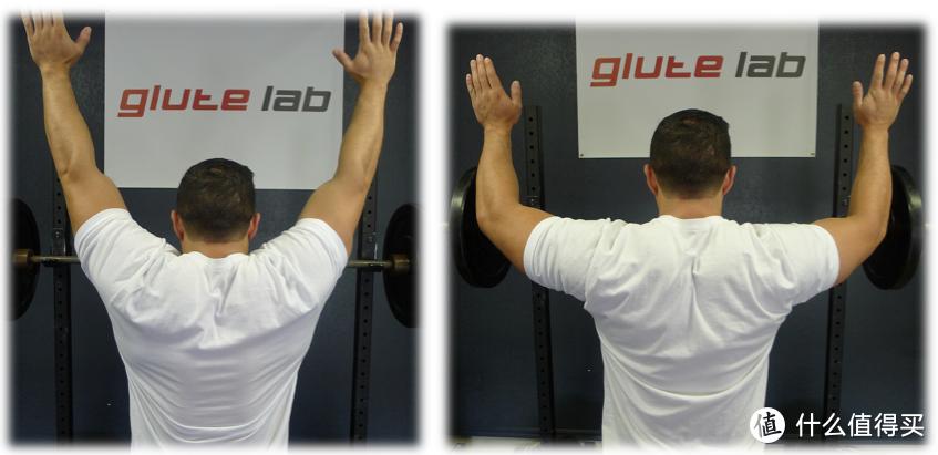 左边:较好的肩胛上回旋。右边:肩膀下沉。