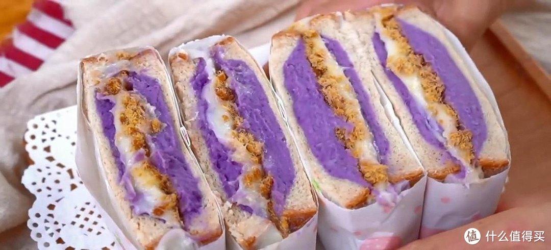 芋泥麻薯三明治,用料足,还能拉丝