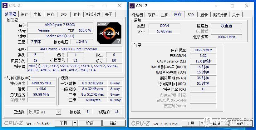 CPUZ信息(4.5G+默认内存设定)