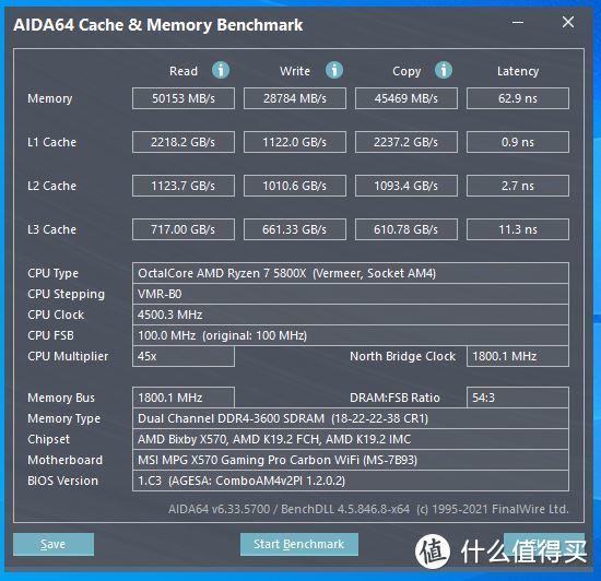 AIDA64(4.5G+XMP 3600内存设定)