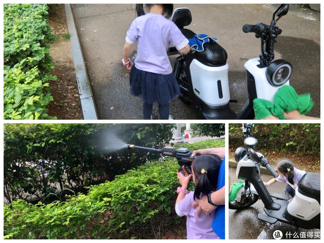 亲子互动清洗SUV和电动车,自助洗车好装备,威克士无线洗车机体验