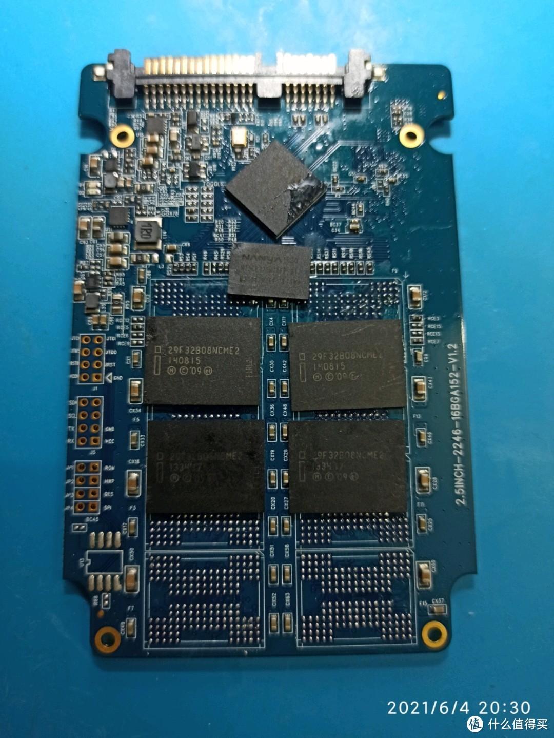 得到2246en主控板子一片、256M缓存一颗、32G储存颗粒4颗
