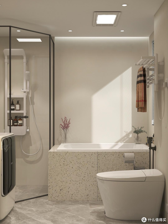 浴室装修设计,奶白法式风,展现卫生间装修的高级感!