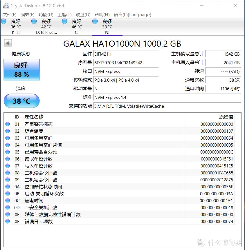 影驰HOF EXTERME 1TB SSD,寿命消耗非常快。