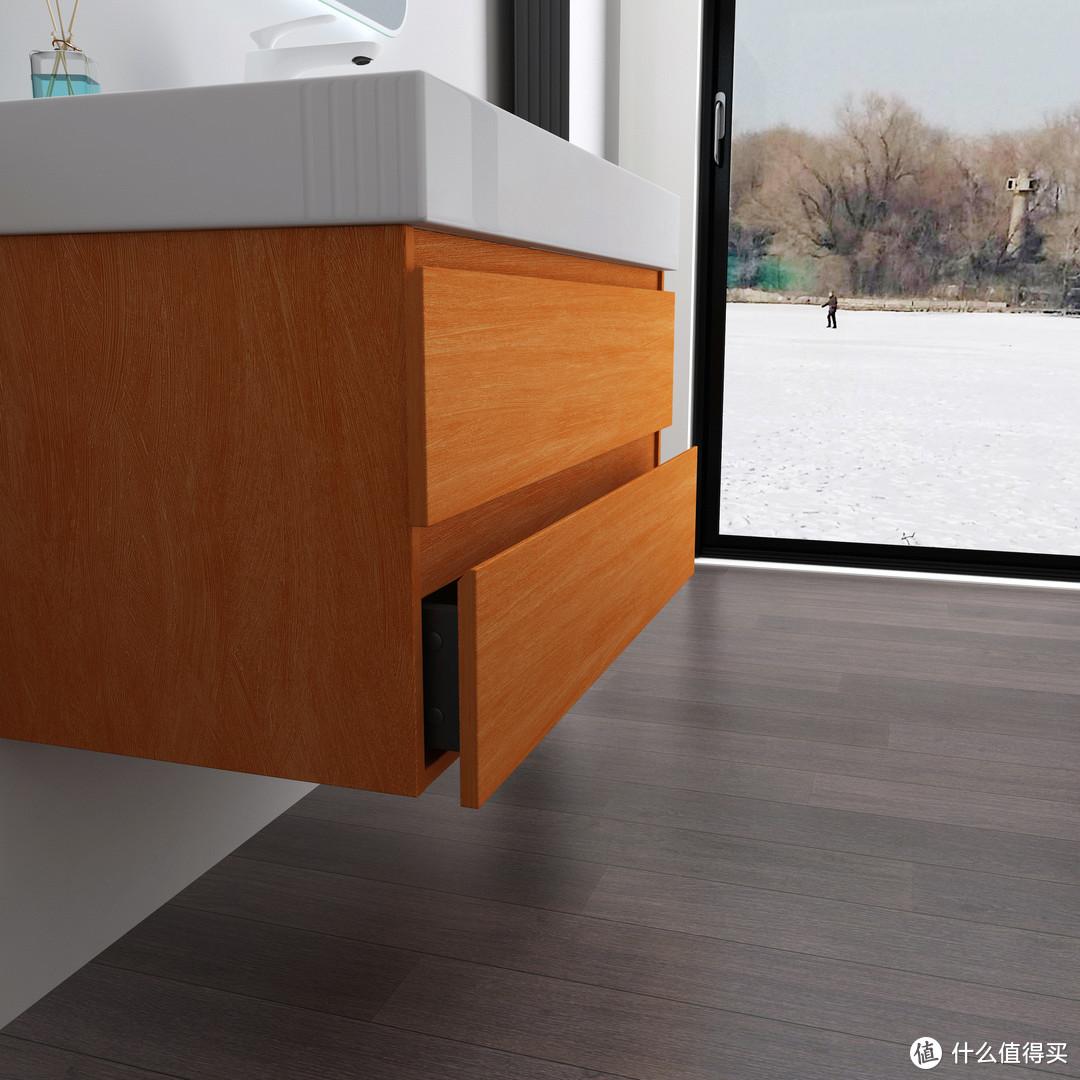 北欧轻奢浴室柜智能镜组合