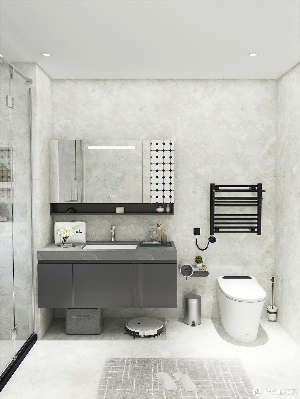 现代风格浴室 智能马桶给的高级感