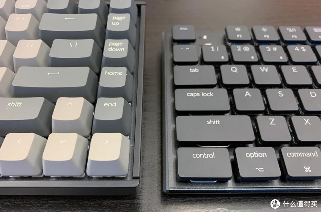 左为普通键盘,右为Keychron京造K1矮轴超薄机械键盘(铝合金)