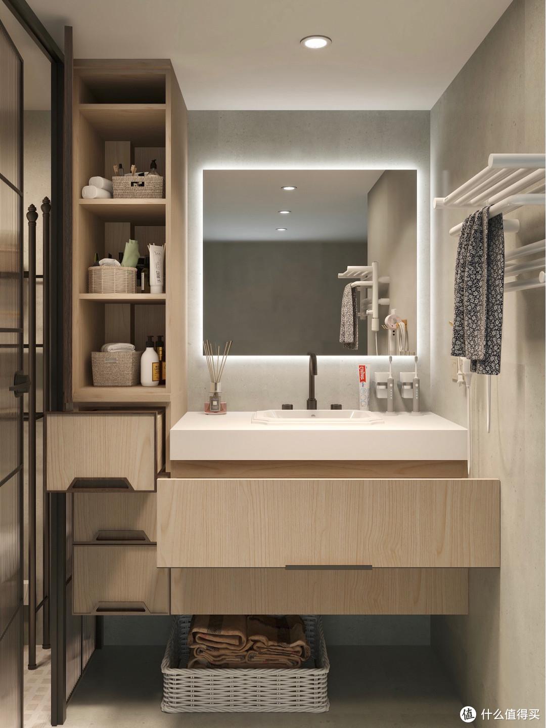 浴室装修设计,3㎡小卫生间,实用主义收纳不能少!