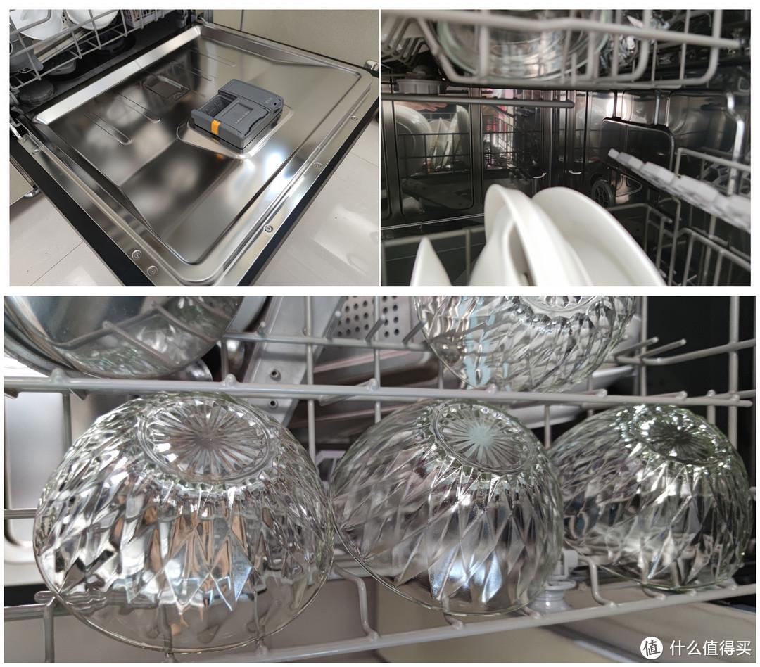 方太NJ01洗碗机 热风烘干后,腔体内壁,门板、玻璃碗都干燥