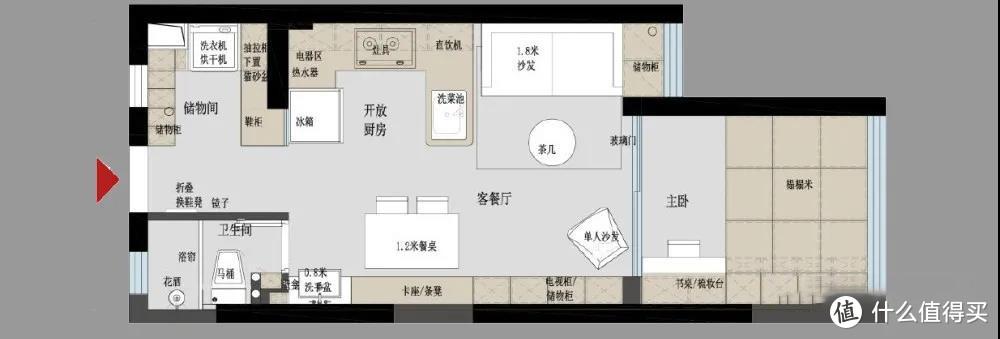 西安45㎡公寓改造,一面墙的收纳柜很适合