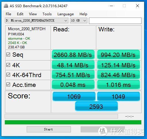 AS SSD Benchmark 10GB成绩