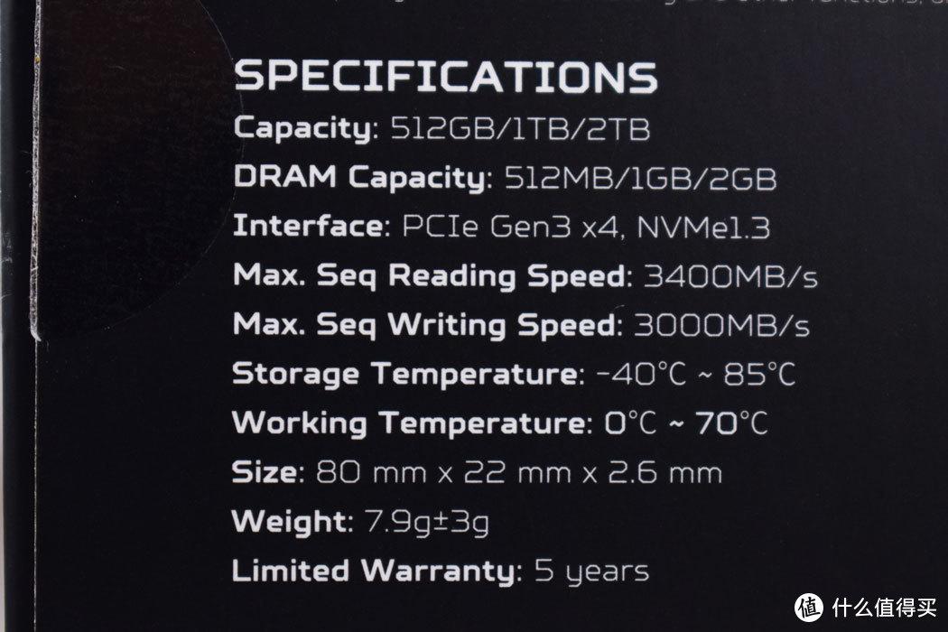 1TB版标称读写速度3400MB/s和3000MB/s