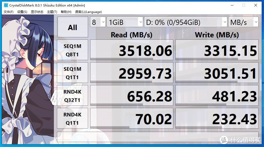 CrystalDiskMark 1GB跑分