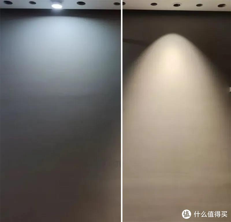 △ 左:筒灯,灯光为泛光,照亮整个空间        右:射灯,灯光为聚光,灯光聚焦到下方