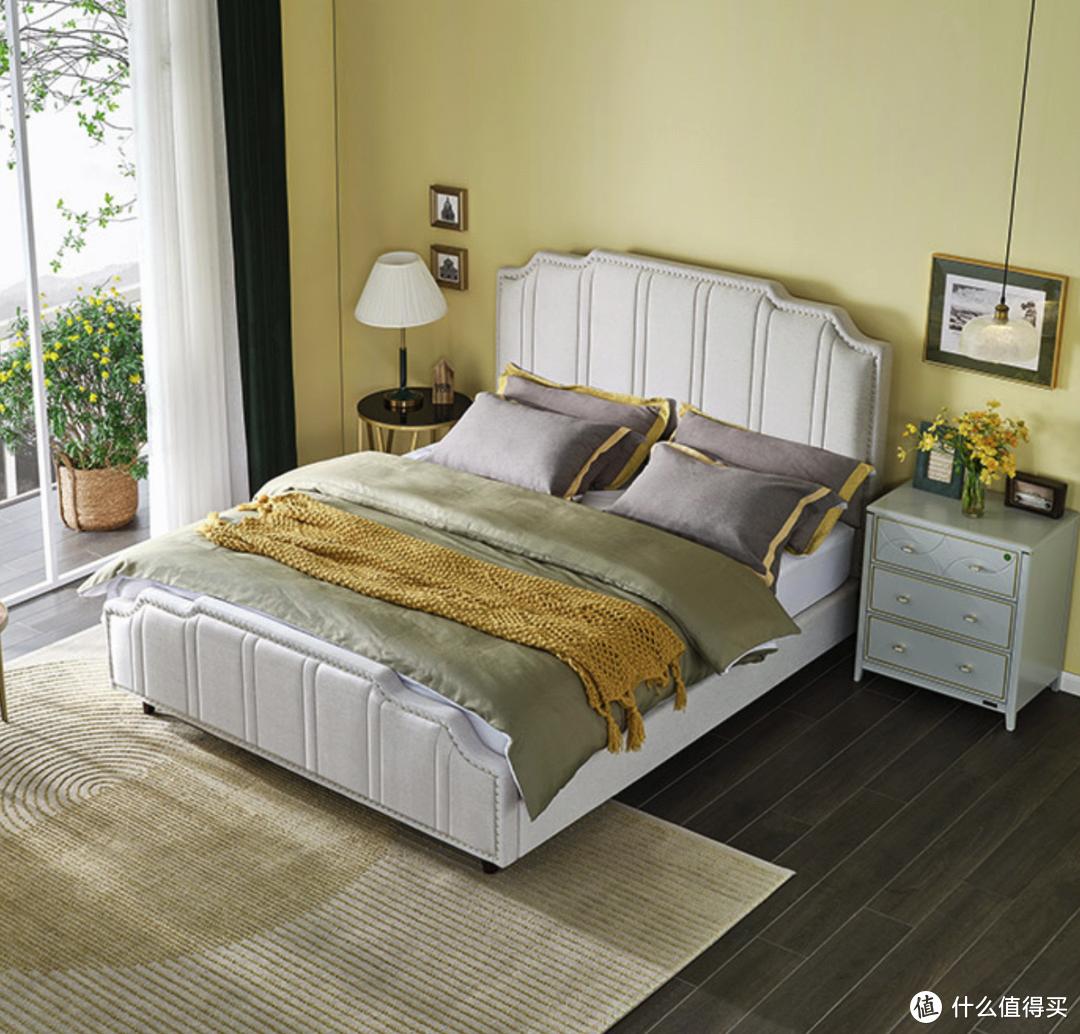 全友三防科技布布艺床,造型复古好打理,营造美式风氛围感