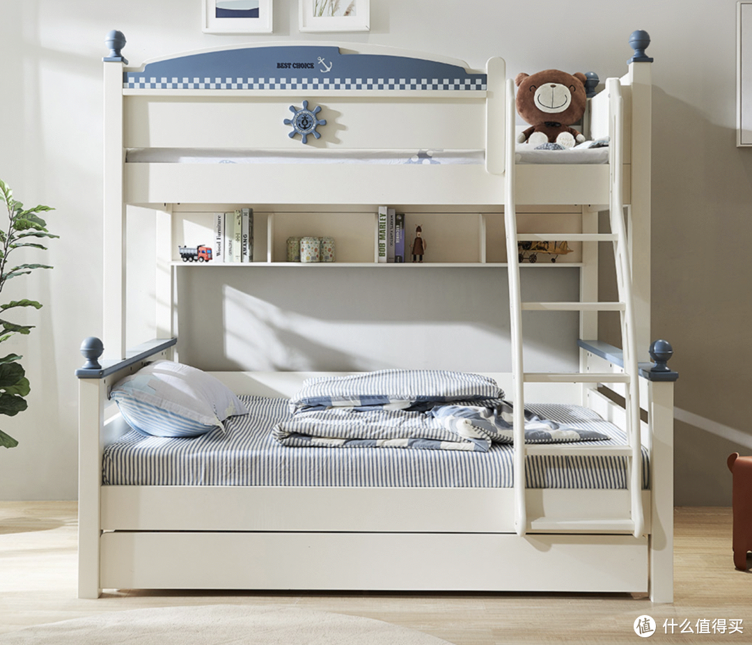 AQUIMIA卡通儿童高低床,适合3-15岁孩子使用,多种储物功能更便捷