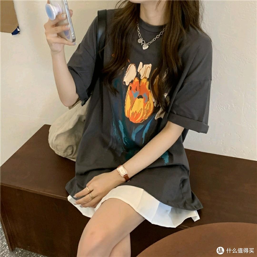 中长款短袖T恤女夏季韩版宽松设计感